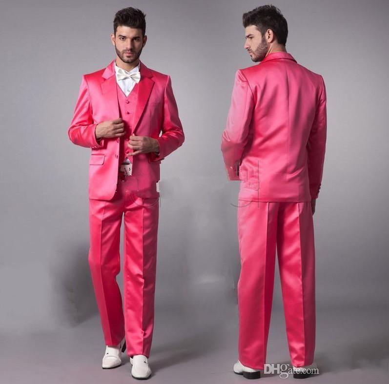 2014 Custom Made Well Fit Pink Men Suits Best Man Groom Suit Two