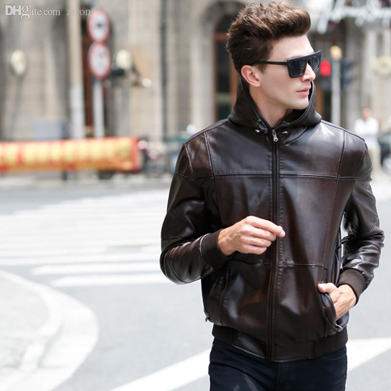 2017 Fall Fall Hooded Leather Jackets Black Coffee Xxxxxl Men ...