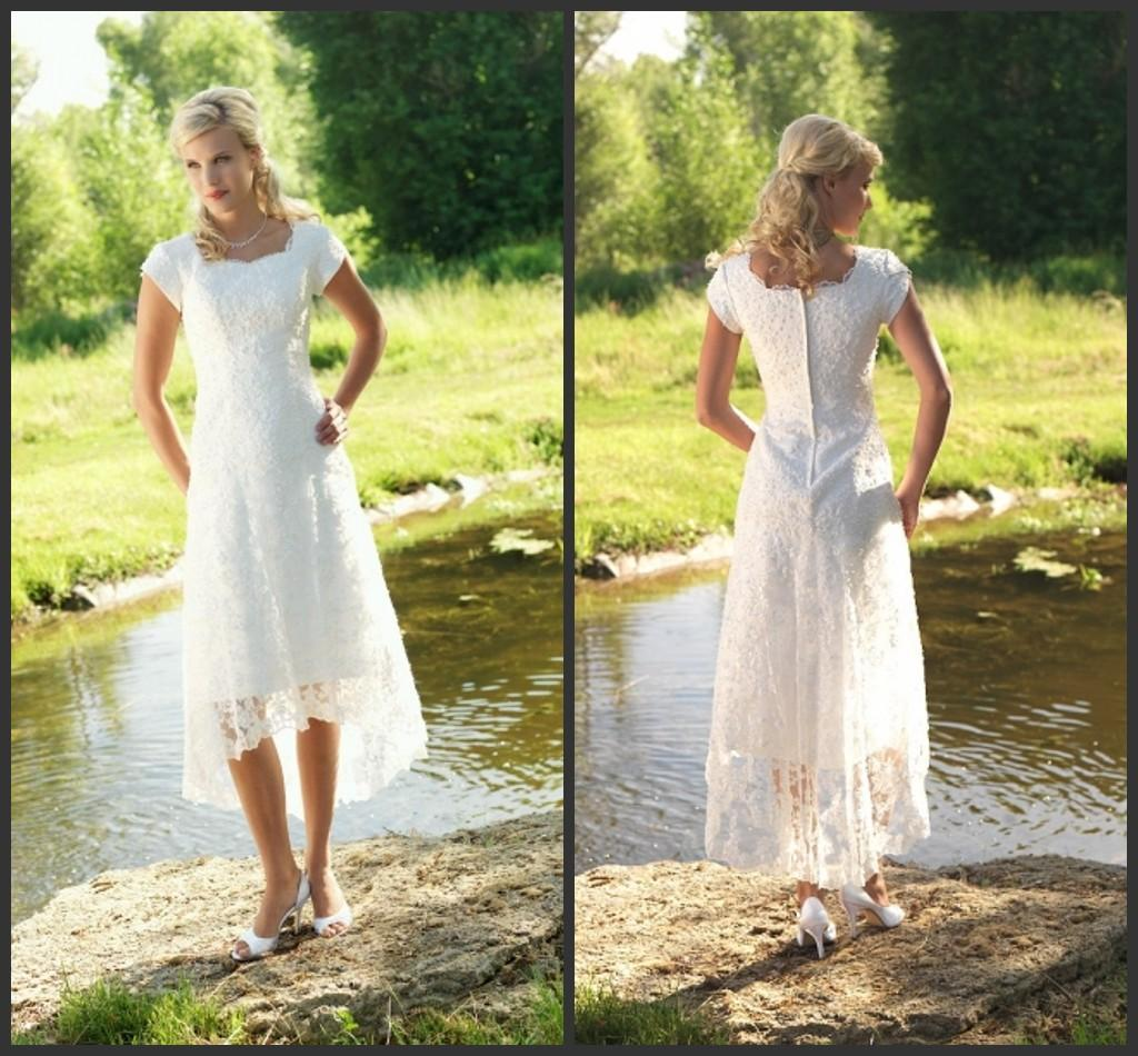 Temperament Country Wedding Dresses With Short Sleeves