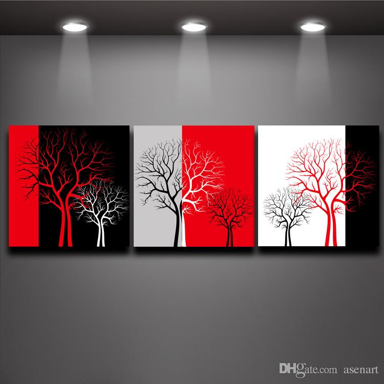 2017 red black white three colors tree picture oil for Black and white mural prints