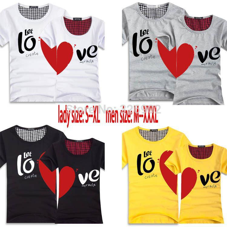 Couples Men & Women Heart LOVE T-shirts Printing100% Cotton Couple ...