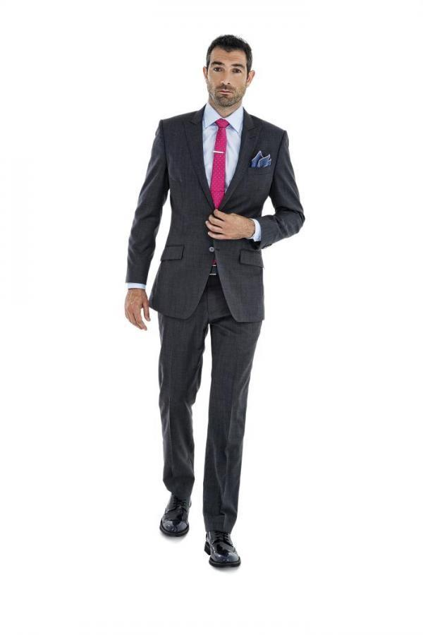 Charcoal Grey Mens Skinny Suits Two Buttons Peaked Lapel 2016 Wool