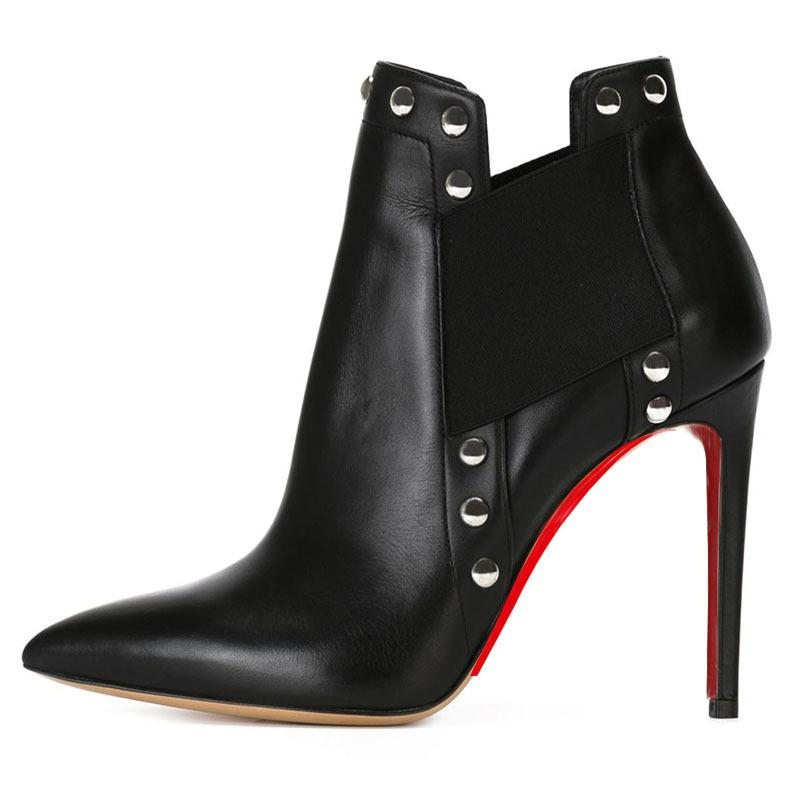 Woman Office Shoes Black Cowhide Rivet Ankle Boots Heels Pumps ...