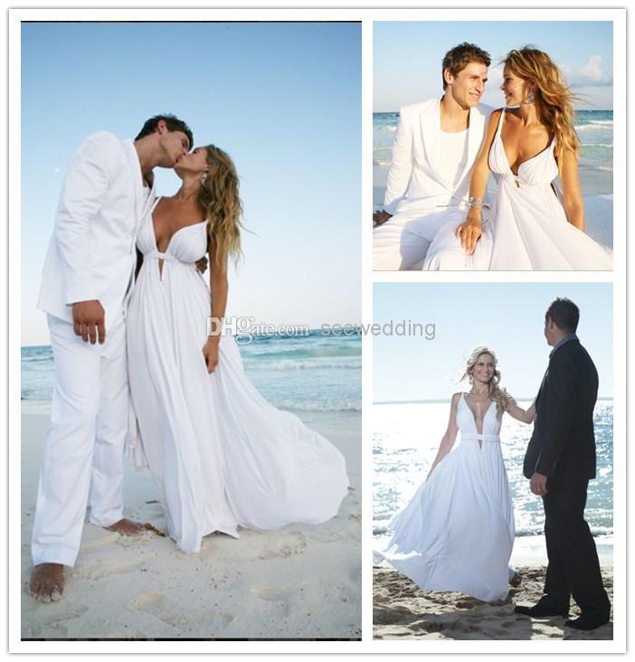 Cheap 2015 chiffon beach wedding dresses spaghetti straps for Cheap destination wedding dresses