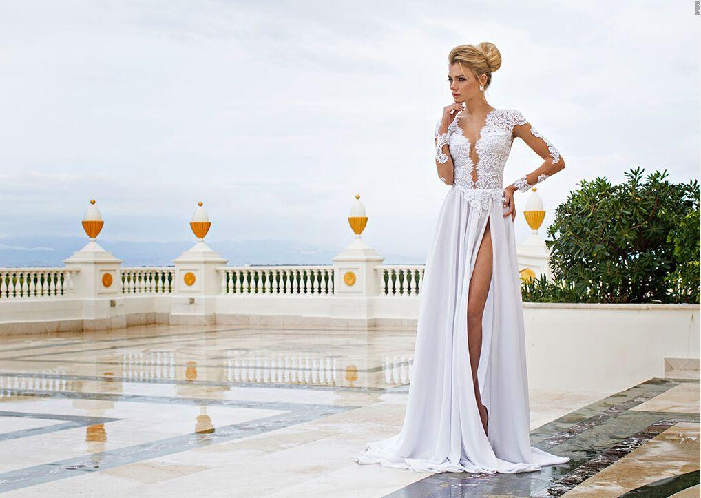 Wedding Dresses Long Beach Ca : Wholesale sexy beach prom wedding dress long sleeve