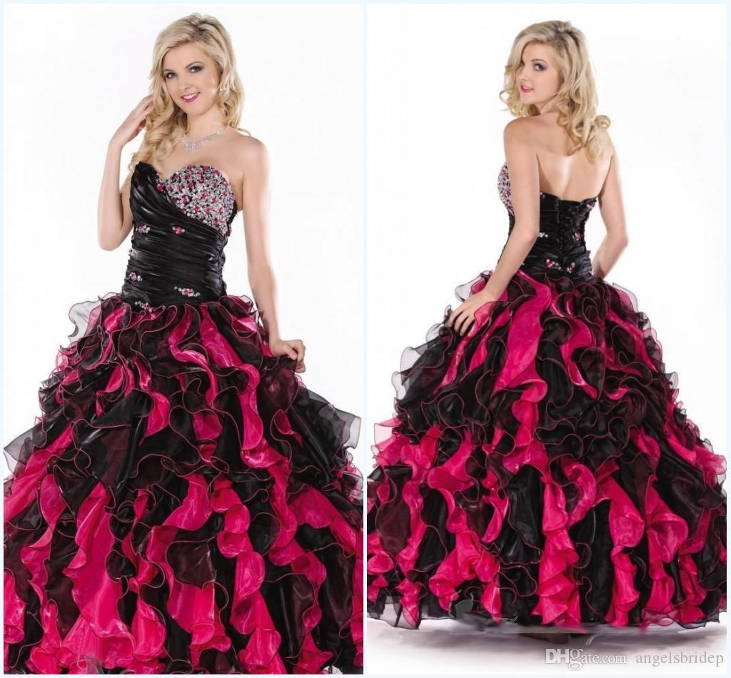 Black/Pink Quinceanera Dresses 15 Years 2015 Unique Sweetheart ...