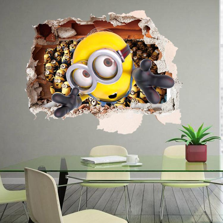 Prettybaby Wallpaper Children Room 3d Wall Decoration Vinyl Sticker Decals Despicable Me Minions
