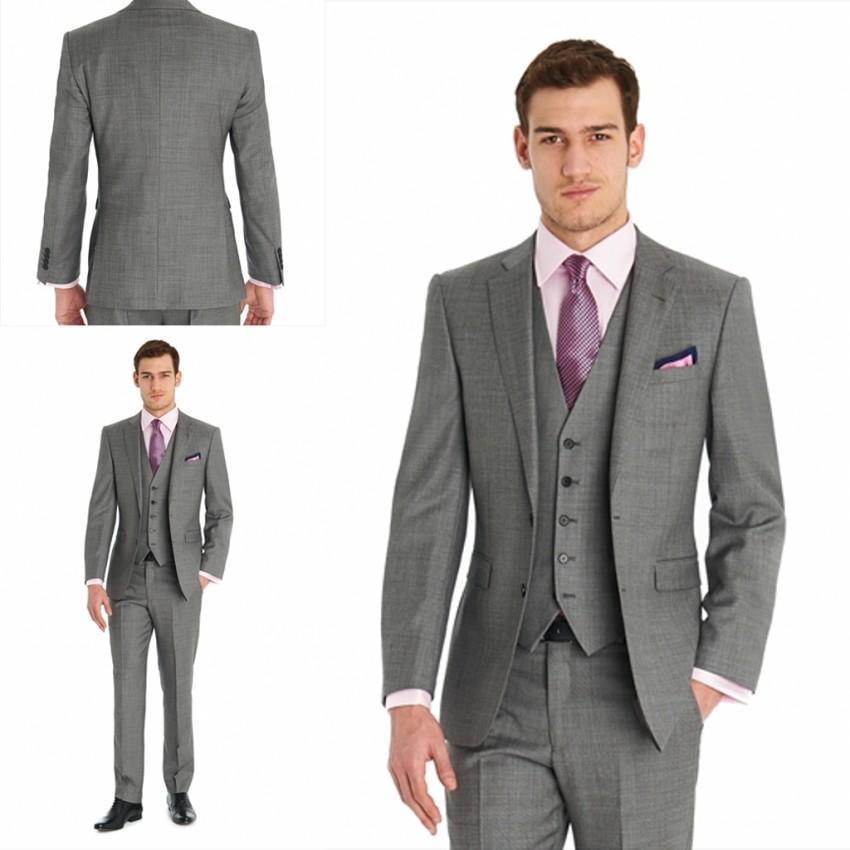 Custom 2015 Grey New Handsome Wedding Tuxedos Good Design Notch Lapel Groom Tuxedos Men Suits ...