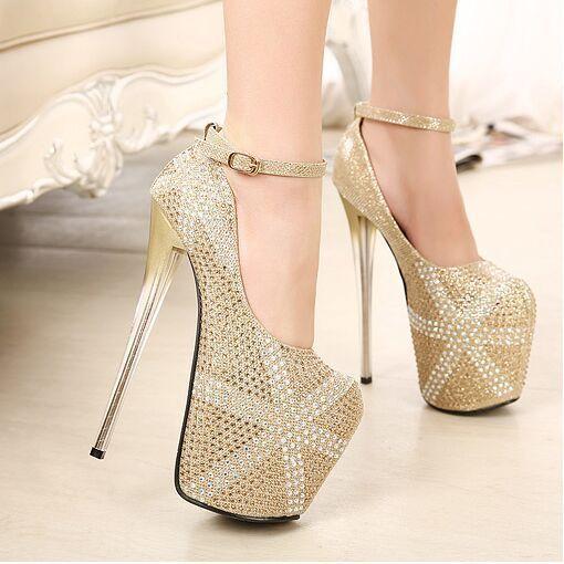 Women Gold Pumps 19cm High Heels Women Shoes Nude Black Velvet ...