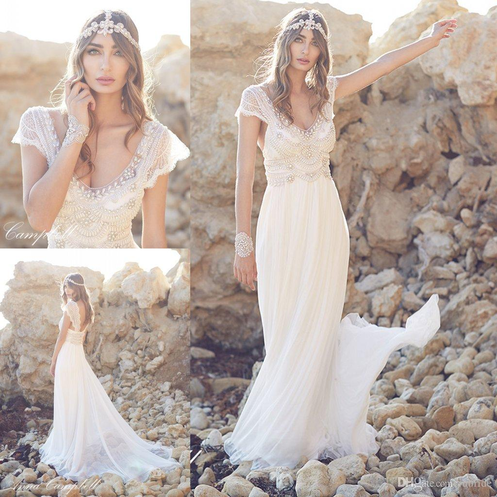2015 anna sheath bohemian wedding dresses sexy lace for Cheap sheath wedding dresses