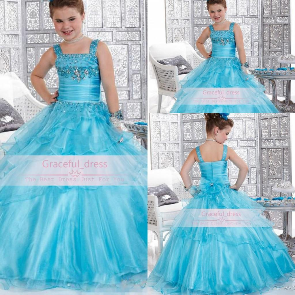 Hot Cheap Flower Girl Dresses For Wedding Cute Spaghetti Straps Beads Organza