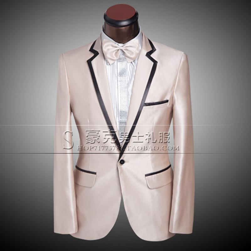 2017 New Costume Men 2014 Formal Champagne Gold Groom Tuxedo ...