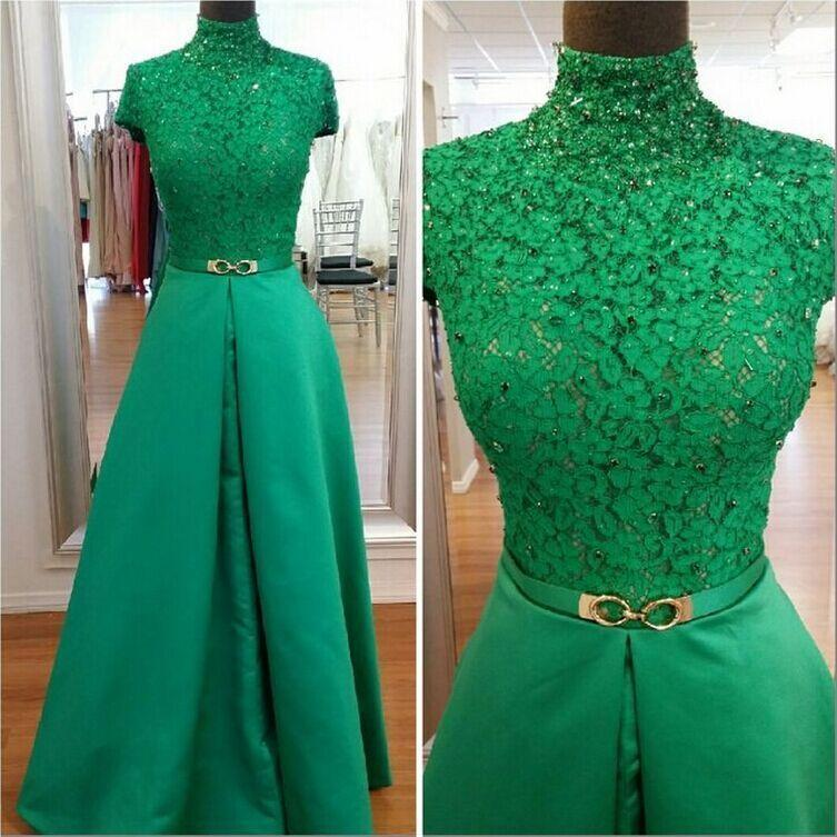 Green lace prom dresses short sleeves beaded long arabic evening party