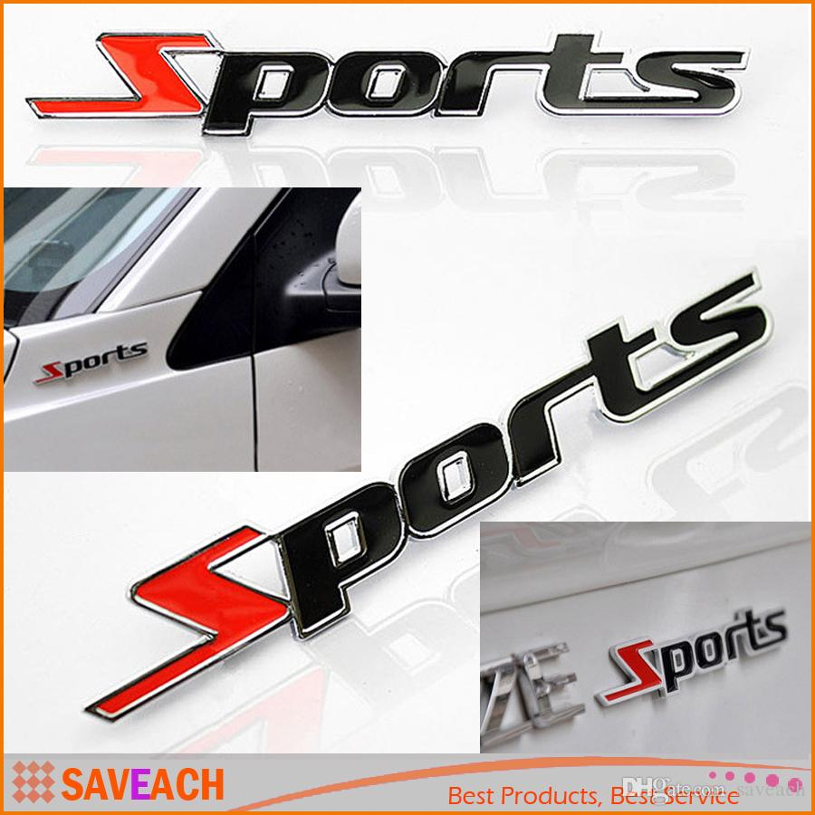 2016 hot sports word letter 3d chrome metal car sticker emblem badge decal auto decor free shipping