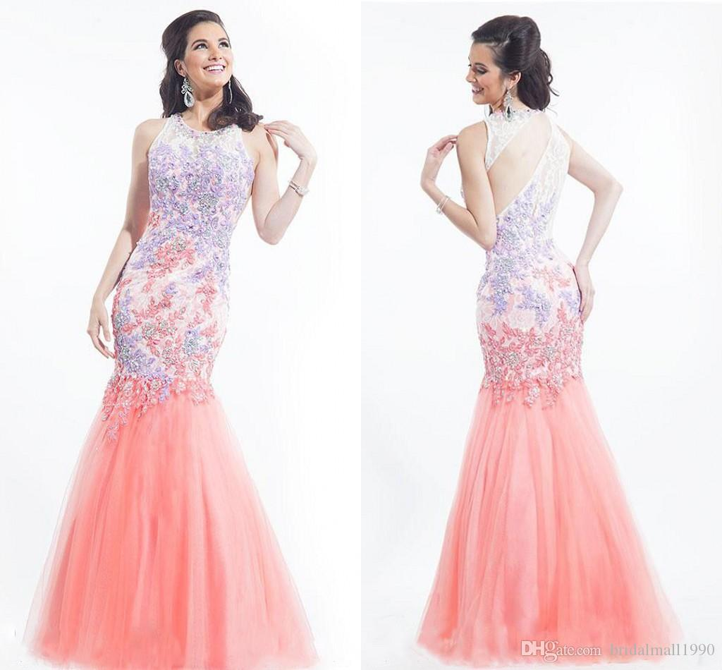 y High Necked Evening Dresses Pink Tulle Beaded