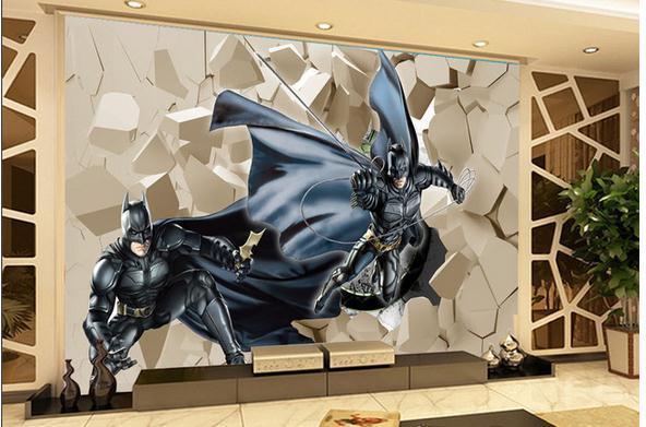 Customize 3d batman brick wallpaper wall sticker for Batman mural wallpaper