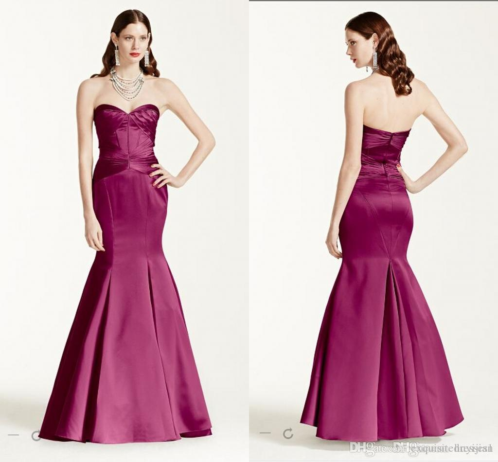 Cheap Bridesmaid Dress Long Strapless Satin Fit And Flare