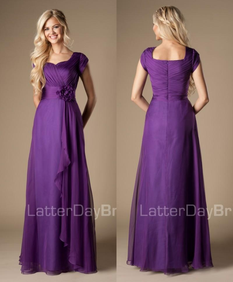 Simple Maxi Purple Long Full Length A Line Modest Bridesmaid ...