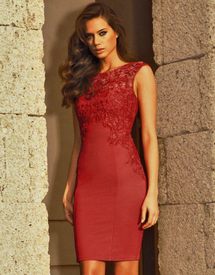 Cheap red bodycon dress
