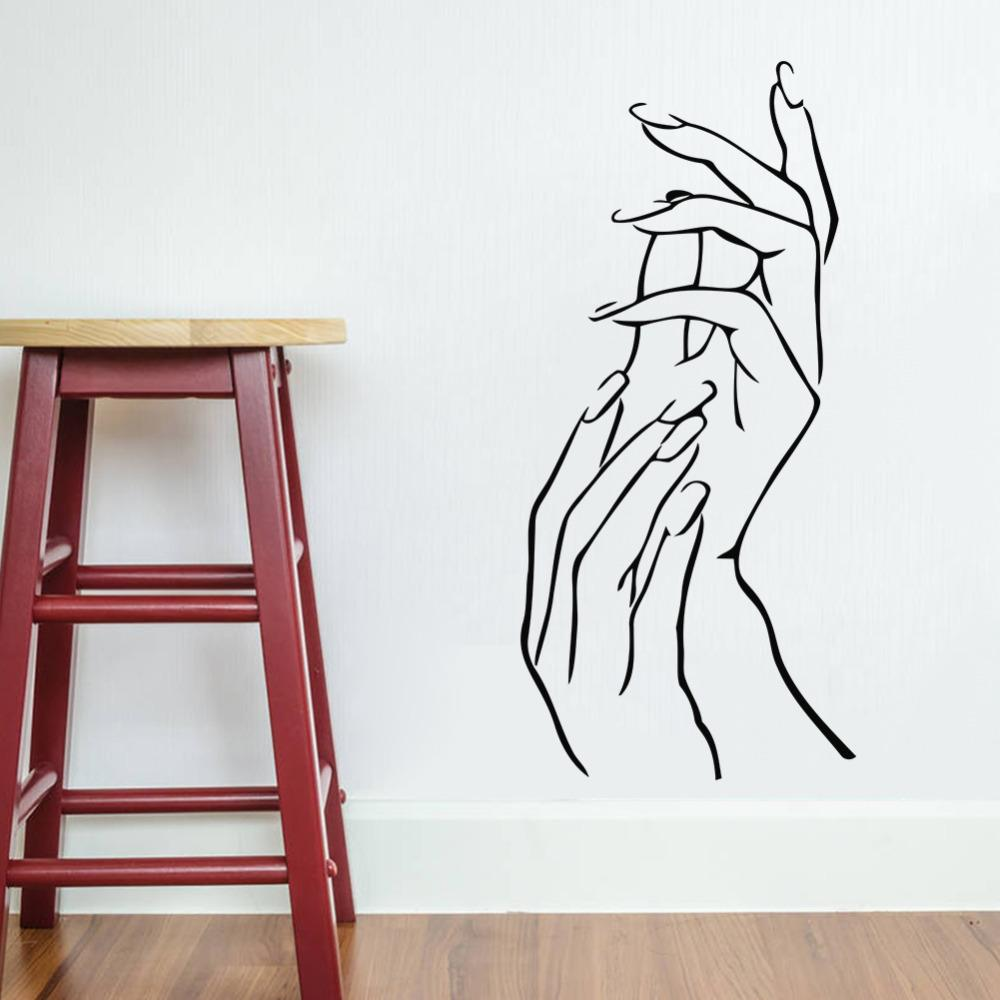 Wall stickers diy - Free Shipping Nail Hands Art Beauty Shop Store Business Wall Art Stickers Decal Diy Home Decoration Wall Mural Removable