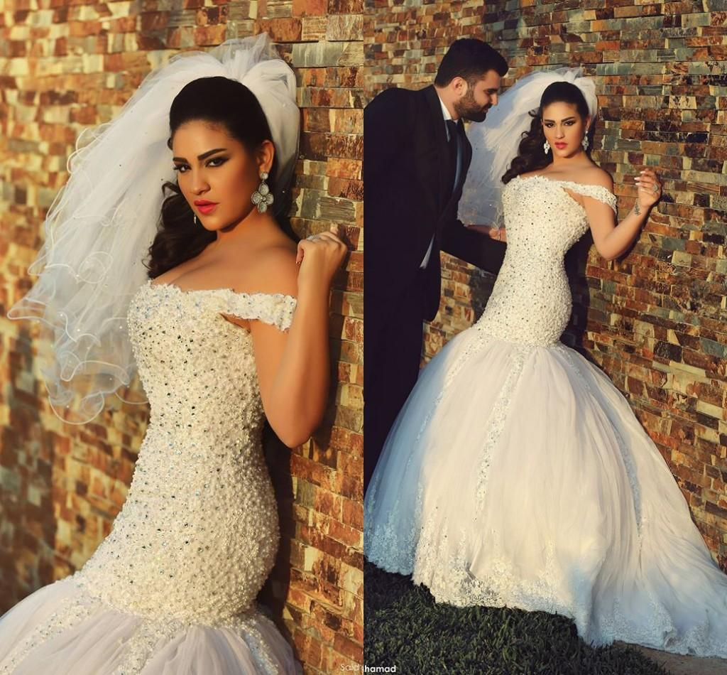 Middle east style mermaid wedding dresses sweep train off for Middle eastern wedding dresses