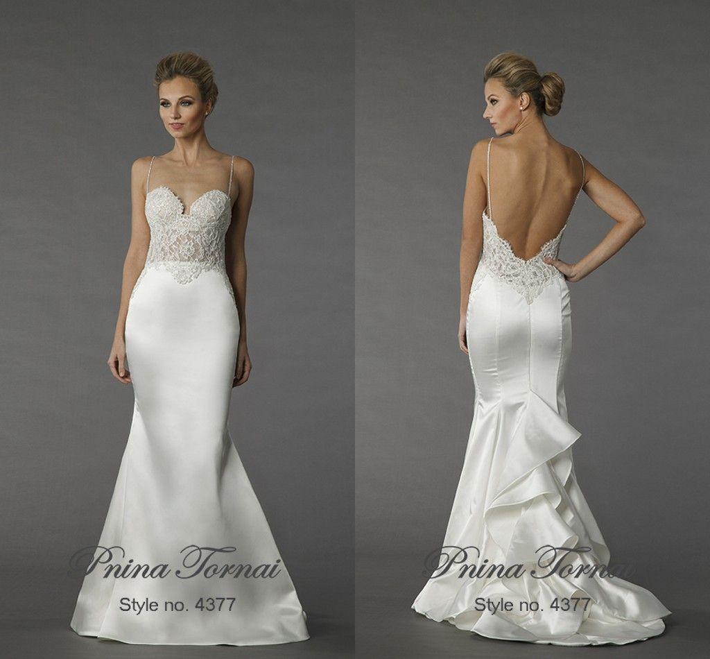 2015 Pnina Tornai Mermaid Wedding Dresses Spaghetti