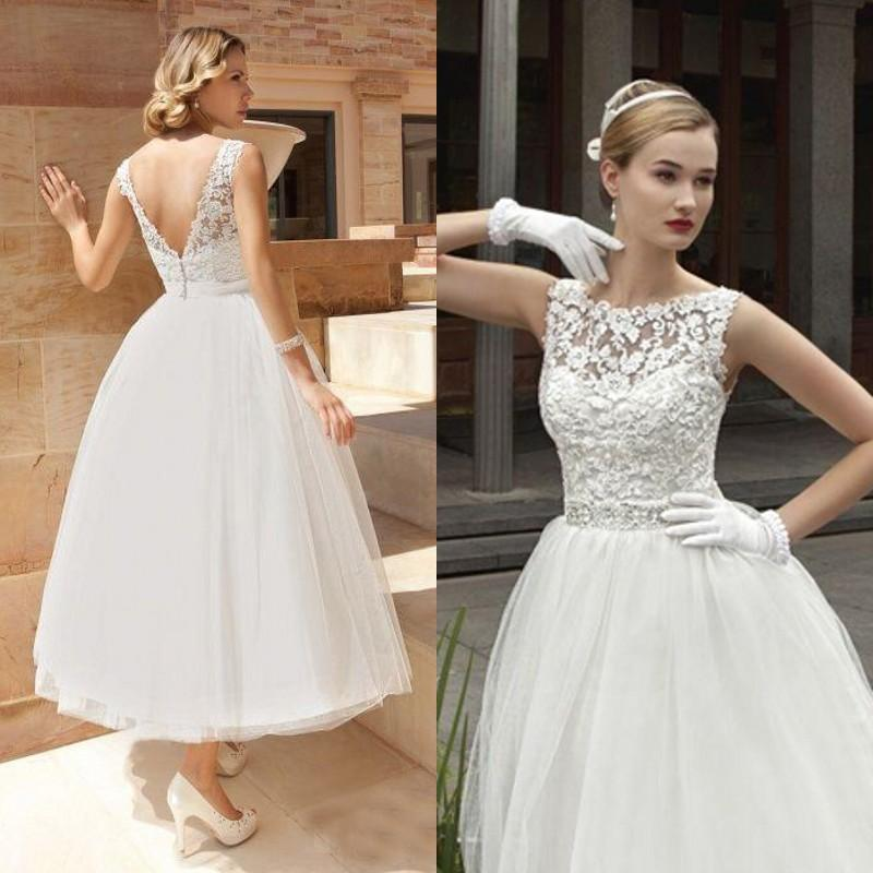 2015 Vintage Tea Length Wedding Dress A Line Lace Tulle Short ...
