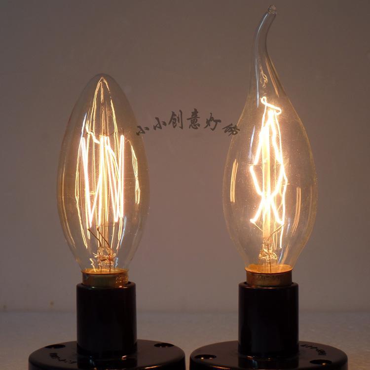 C35 Edison light bulb E14 bulbs pull tail tip bubble retro small screw-type  special