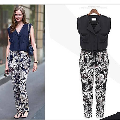 Best Floral Cotton Lapels Stitching Ladies Playsuit Culottes ...