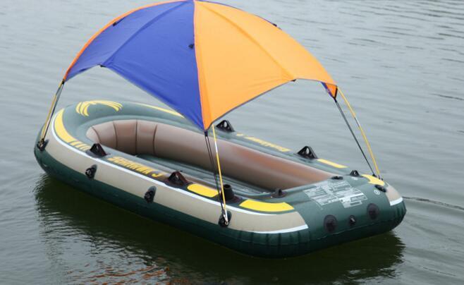 Inflatable kayaks intex folding fishing boat awning tent 3 for Boat umbrellas fishing