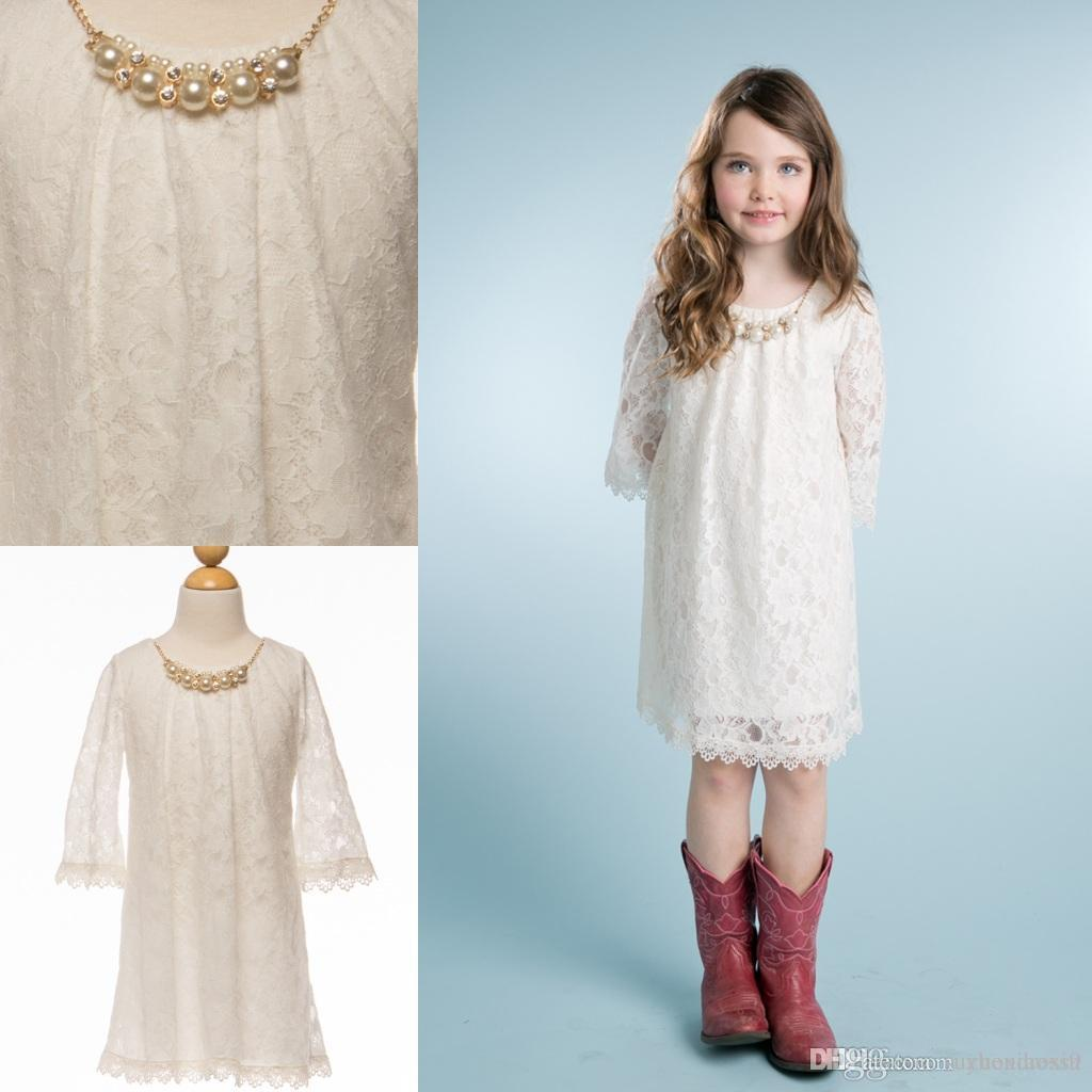 Ivory Short Lace Flower Girls Dresses 2015 Modest Boho