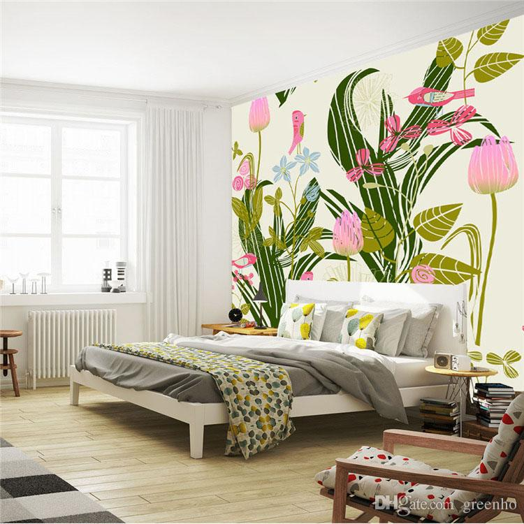 Cartoon Birds U0026 Flowers Photo Wallpaper Giant Wall Mural Paintings Wallpaper  Bedroom Hallway Room Decor Sofa TV Setting Wall Art Decoration 3D Wallpaper  ...