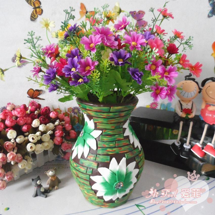 Boutique home decoration artificial flower pot clay for Artificial flower vase decoration ideas