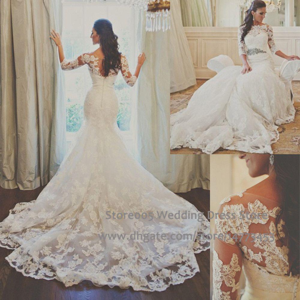 Brautkleid Vintage Crystal Mermaid Wedding Dresses With Sleeves ...