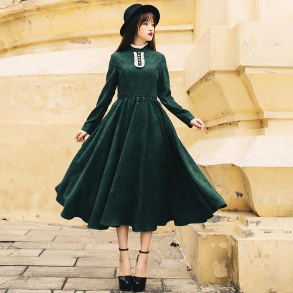Green Corduroy Dress Maxi Dress Long Sleeves High Collar Casual ...