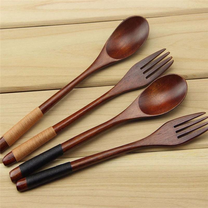 Wooden Spoon Fork Flatware Set Eco Friendly Reusable Nanmu