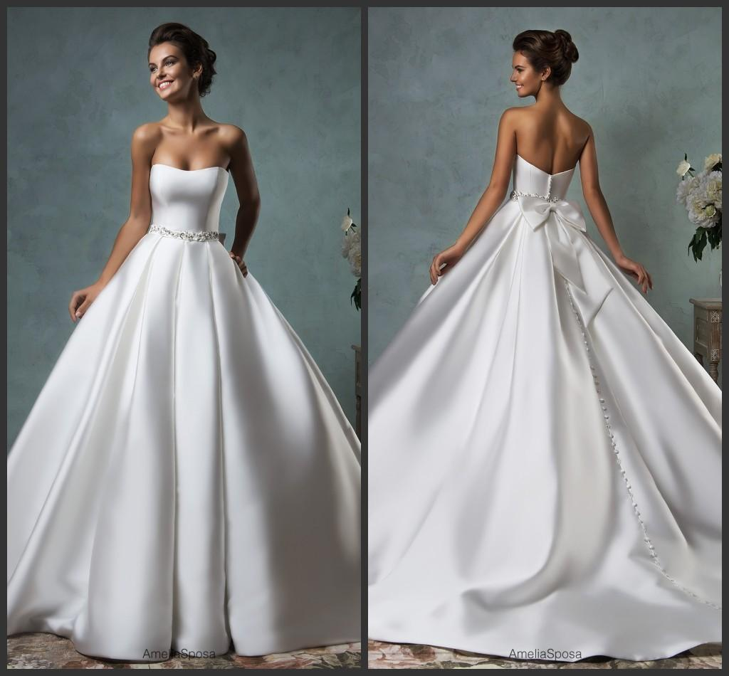 Satin Sweetheart Ball Gown Wedding Dresses Amelia Sposa