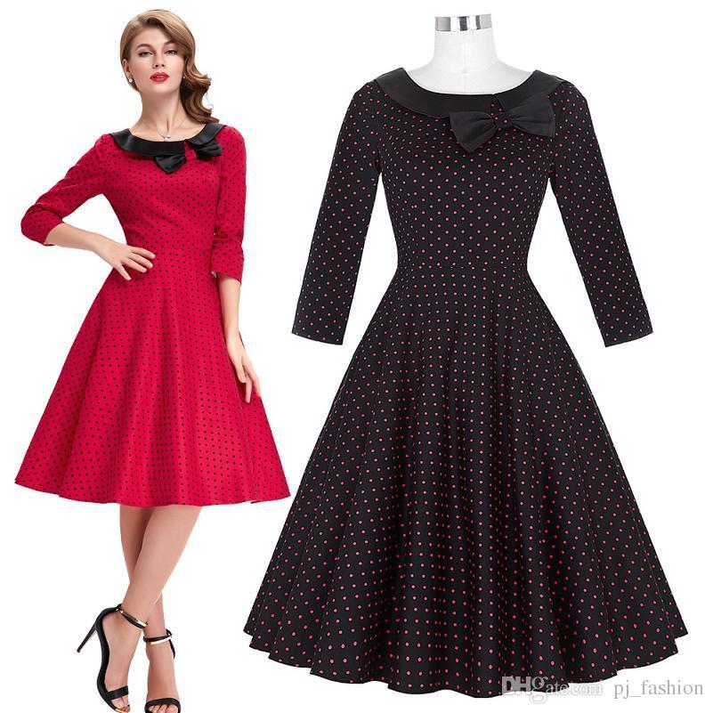 Parisian Style Polka Dots Retro Vintage 50s 3/4 Sleeve Cotton ...