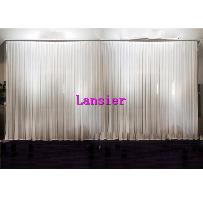 New arrival hot 3m 6m plain sheer white wedding drape for Background curtain decoration