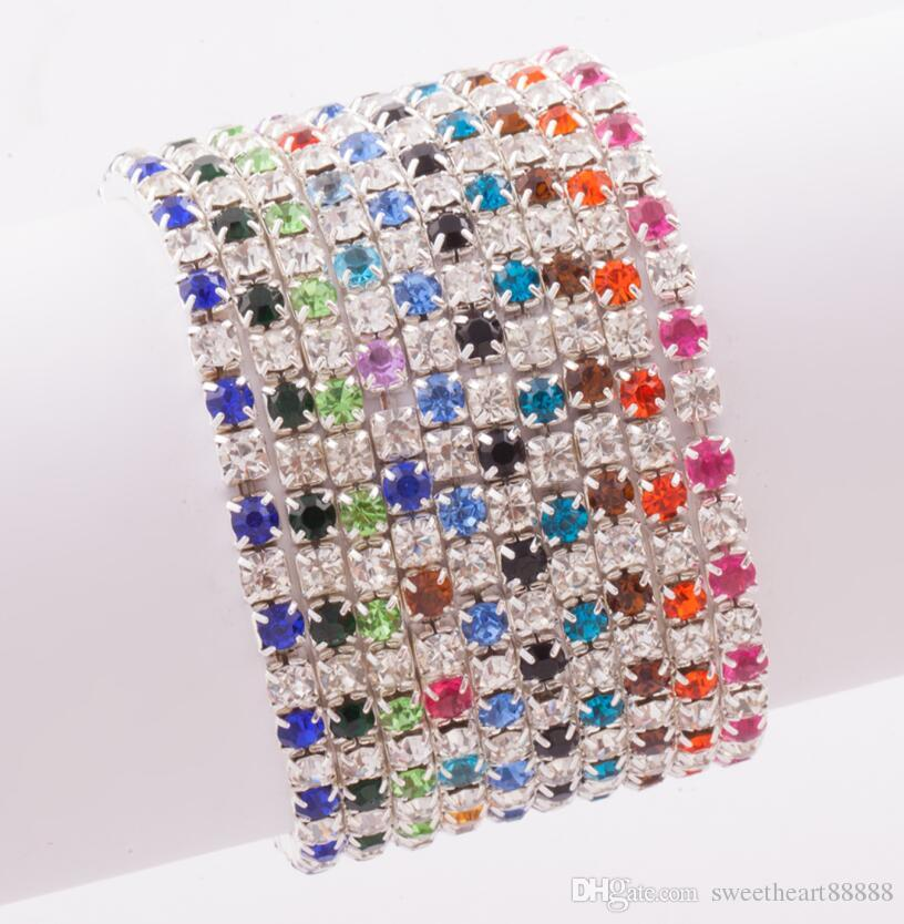 2017 Hot 10Colors 3Length Colorful Spring 1-Row 2-Row Rhinestone Crystal Bracelets Tennis hot sell Jewelry Fashion