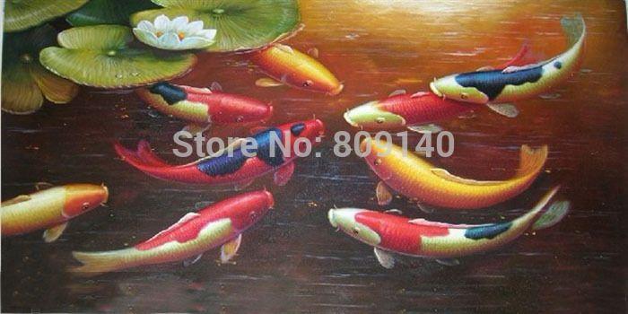 Japanese Nine Koi Fish Oil Painting Canvas Lotus Feng Shui Asian