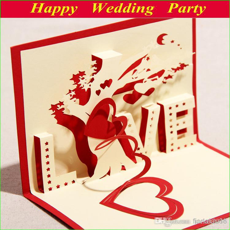 3D Love Cards Blue Red Greeting Cards LaserCut Heart Tree 2014 – Buying Birthday Cards Online