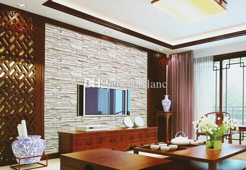 New chinese style dining room 3d wallpaper stone brick for 3d wallpaper for dining room