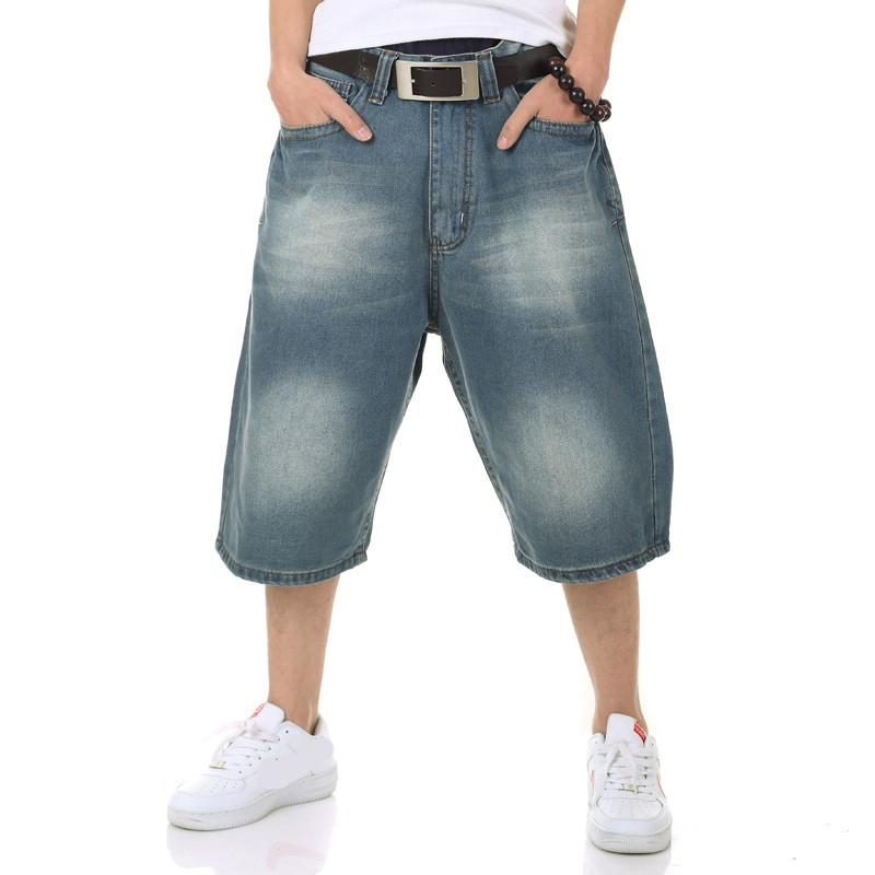 Best Classical Mens Hip Hop Jeans Shorts Light Washed Blue Plus ...