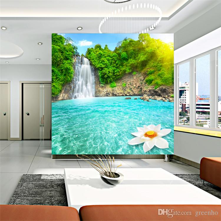 Charming Waterfall And Rivers Photo Wallpaper Landscape Wall Mural Art Design Custom  Large Size Non Woven Canvas ROOM DECOR Home Background Wall Landscape  Wallpaper ... Part 15