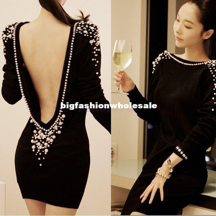 2017 Sexy Club Dress 2014 Deep V Backless Long Sleeve Mini Short ...