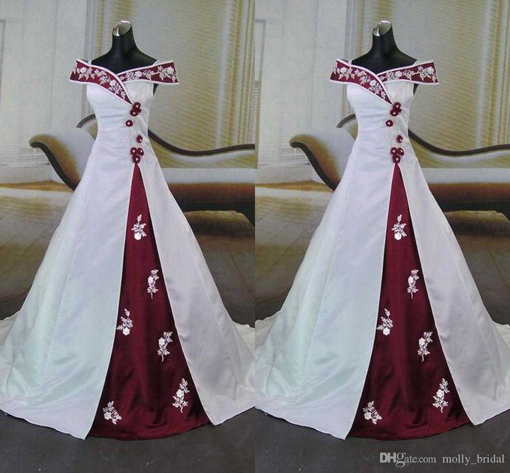 White And Red Wedding Dress 2016 y f Shoulder