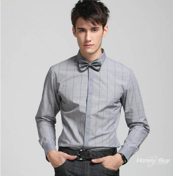 Small men 39 s shirt tie a bow of long sleeved casual light for Casual shirt and tie