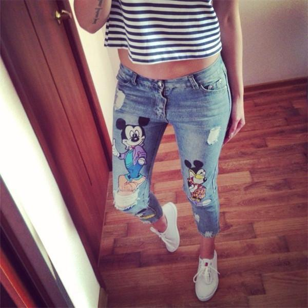 Best Quality 26 34 Plus Size New Ripped Capris Jeans For Girls ...