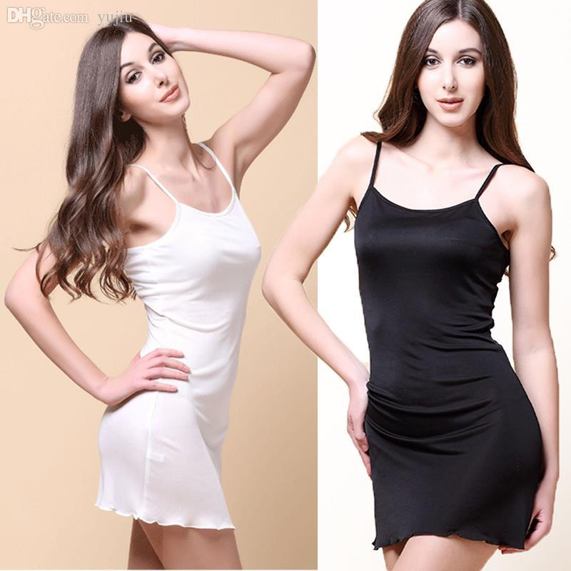 Best Wholesale Woman Dresses Silk Slips Solid Camisole Women Full ...